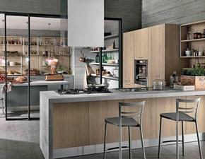 Cucina moderna rovere chiaro Colombini con penisola Essenza in Offerta Outlet