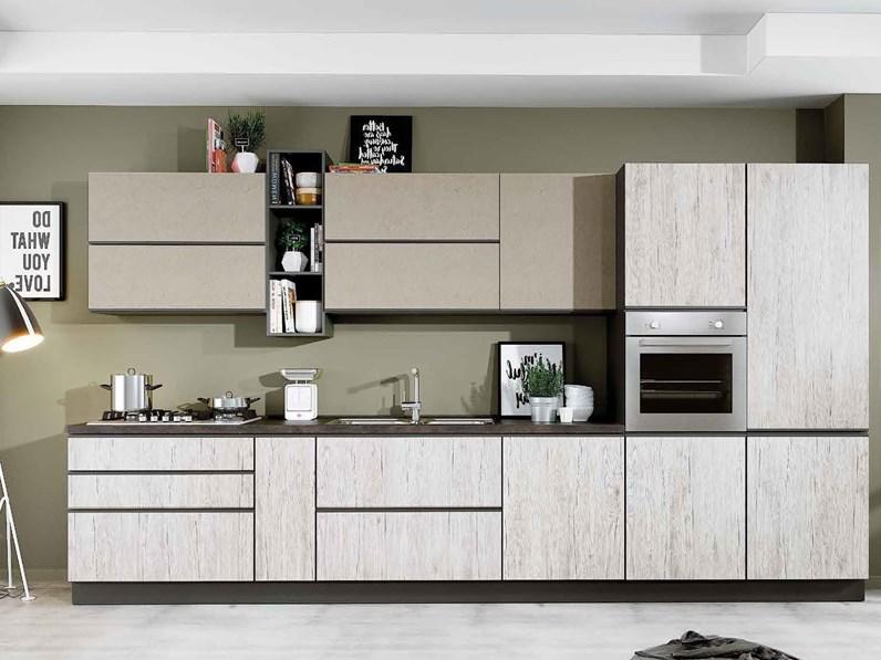 Cucina Moderna Rovere Chiaro Evo Cucine Lineare Gaia In Offerta Outlet