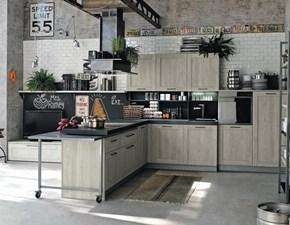Cucina moderna rovere chiaro Stosa cucine con penisola City scontata