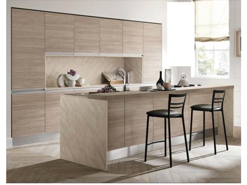cucina moderna rovere terra essenza con isola attrezzata ed ...