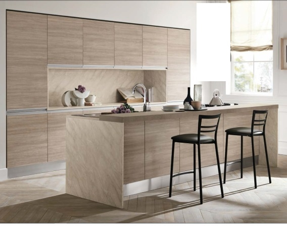 Cucina moderna rovere terra essenza con isola attrezzata for Piani di cucina con isola e camminare in dispensa