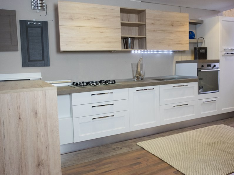 Cucina moderna shabby vintage con penisola mobile in - Top cucina porfido ...