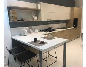 Cucina moderna tortora Scavolini con penisola Open in Offerta Outlet