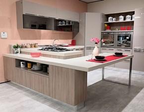 Cucina moderna tortora Stosa con penisola Replay scontata
