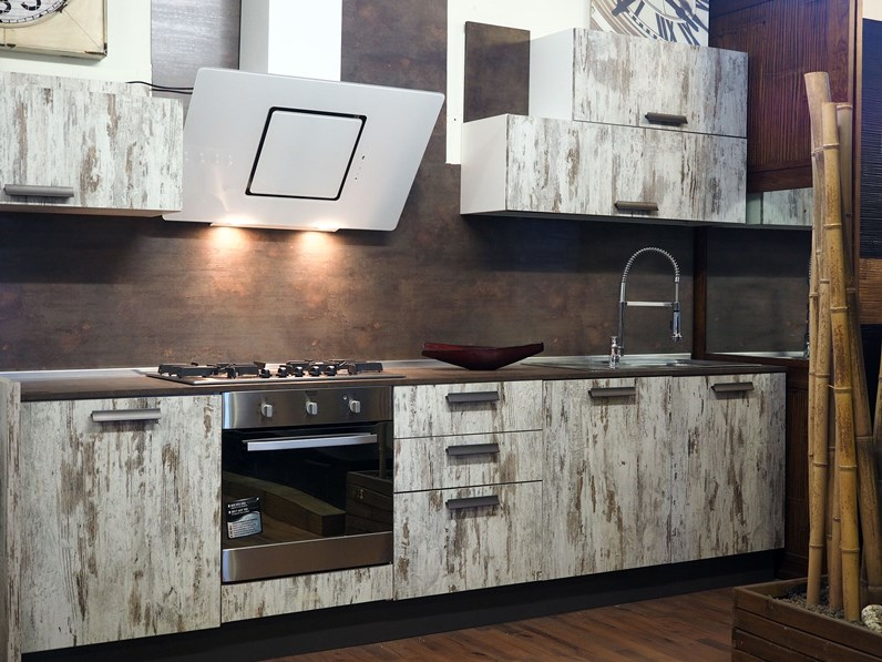 cucina moderna vintage decape\' white in offerta expo