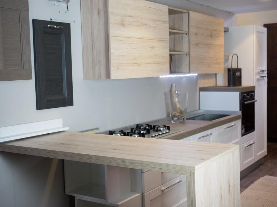 cucina moderna vintage in legno con penisola mobile essenza rovere - Cucine a prezzi scontati