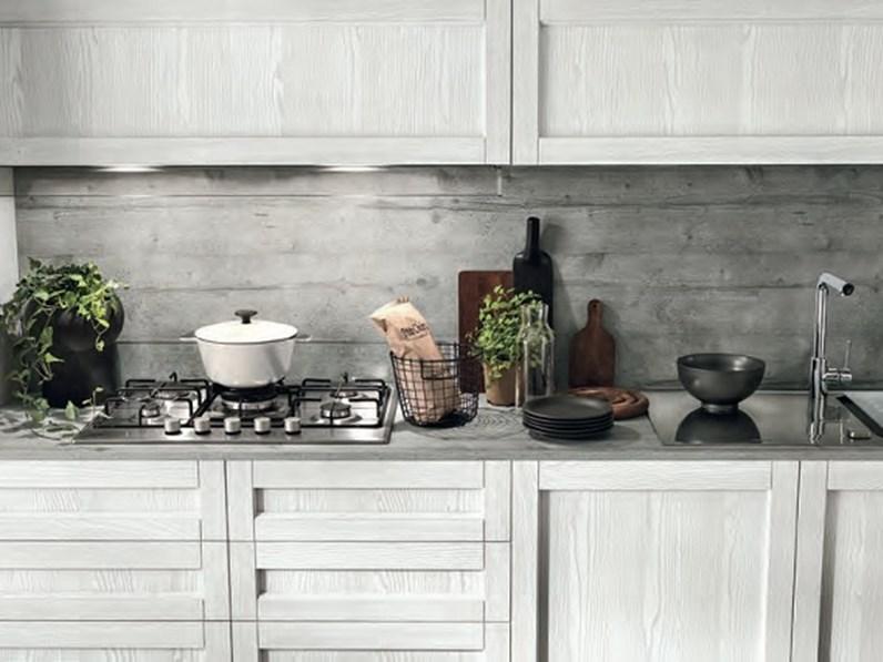 Ante Cucina Moderna.Cucina Moderna Vintage Lineare Ante Legno Essenza Rovere Chiaro E White In Offerta