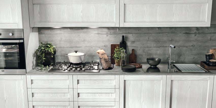 Cucina moderna vintage lineare ante legno essenza rovere chiaro e ...