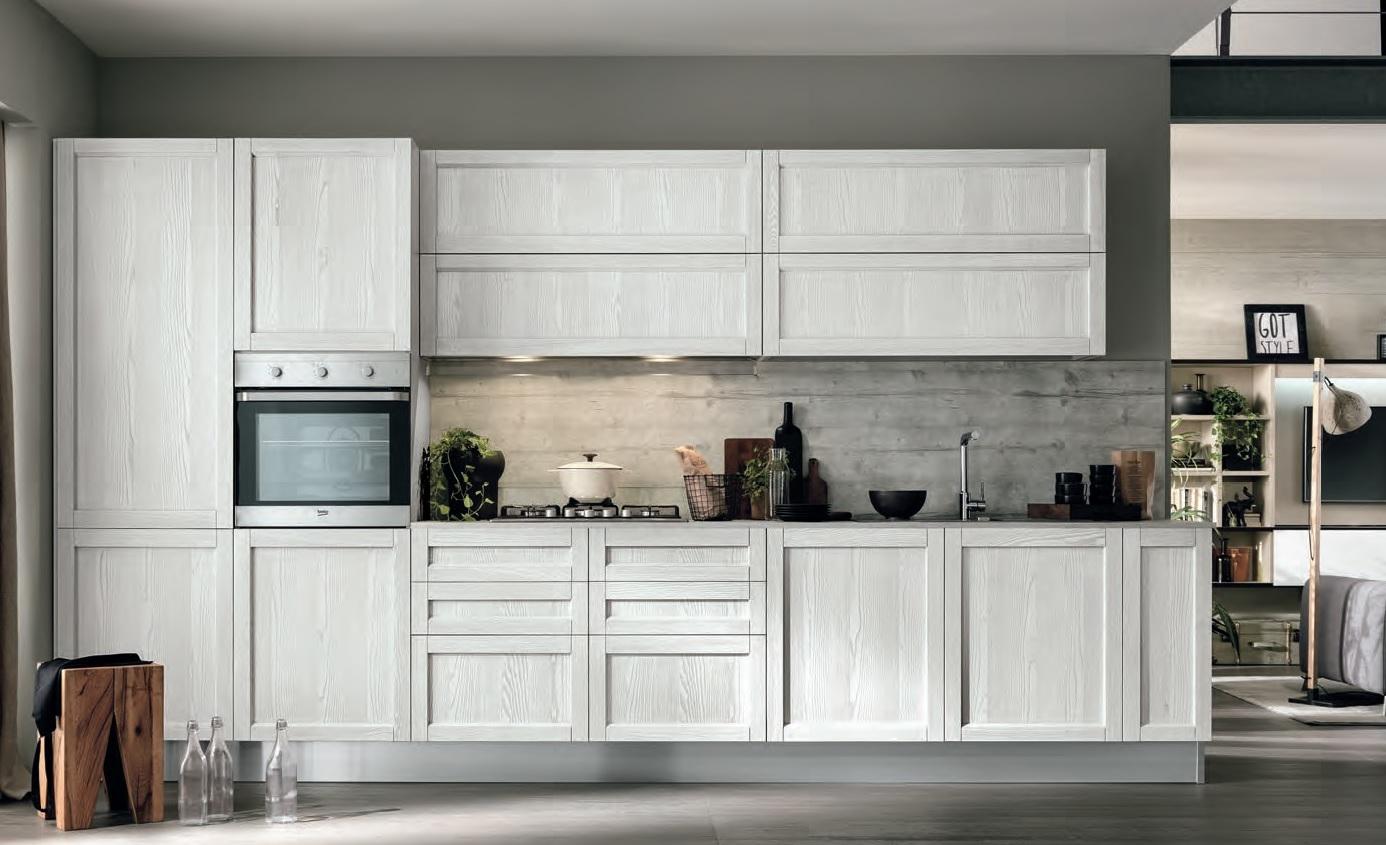 Cucina moderna vintage lineare ante legno essenza rovere chiaro e white in offerta cucine a - Cucine bianche e legno ...