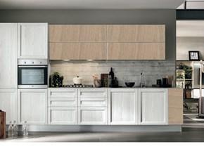 cucina moderna vintage lineare ante legno essenza rovere