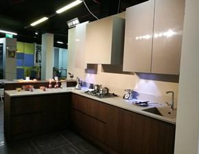 Cucina Modulnova moderna ad angolo tortora in legno Moon-gola