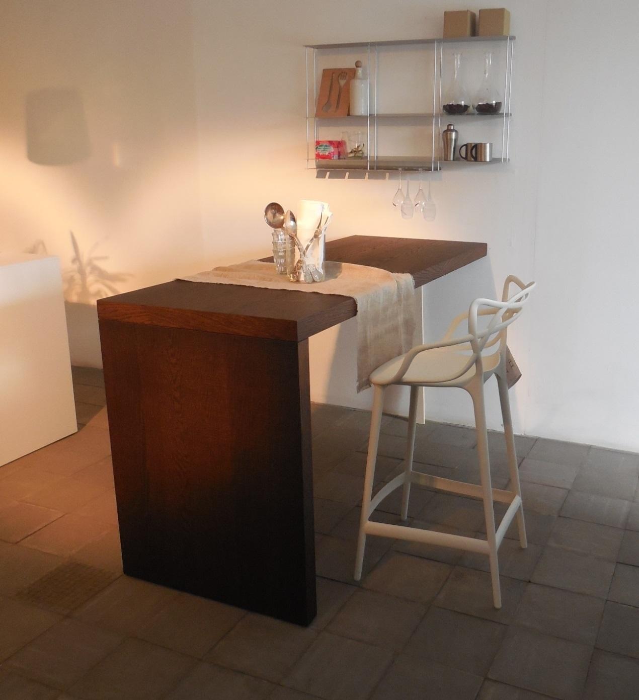 cucina modulnova piano snack penisola tavolo rovere raw legno