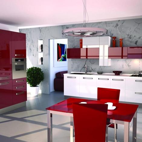 Cucina Moderna Angolare Laccata Lucida Rossa E Rovere Moro Mod Arr Per ...
