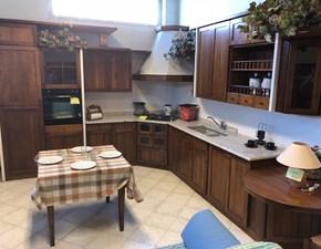 Cucina noce classica ad angolo Ida  Artigianale in Offerta Outlet