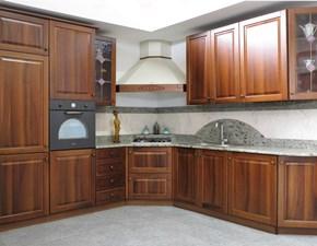 Cucina noce classica ad angolo U815 ambra Artigianale