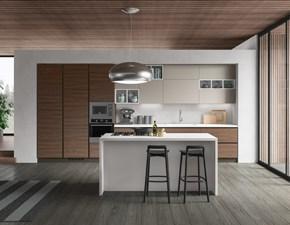 Cucina noce moderna ad isola Cucina componibile mod.petalo versione noce cannella e tabacco Artigianale in Offerta Outlet