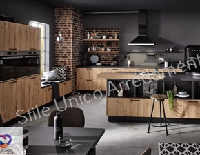 Cucina noce moderna ad isola Mountain Colombini casa in Offerta Outlet