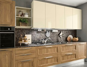 Cucina noce moderna lineare Componibile Colombini in Offerta Outlet