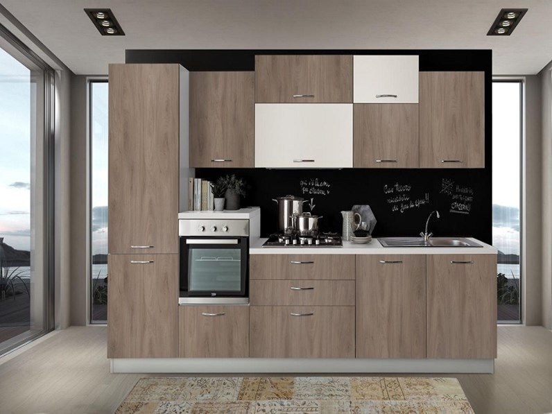 Cucina Noce Moderna.Cucina Noce Moderna Lineare Cucina Noce Scuro Ghiaccio 330 Ncm Artigianale In Offerta Outlet