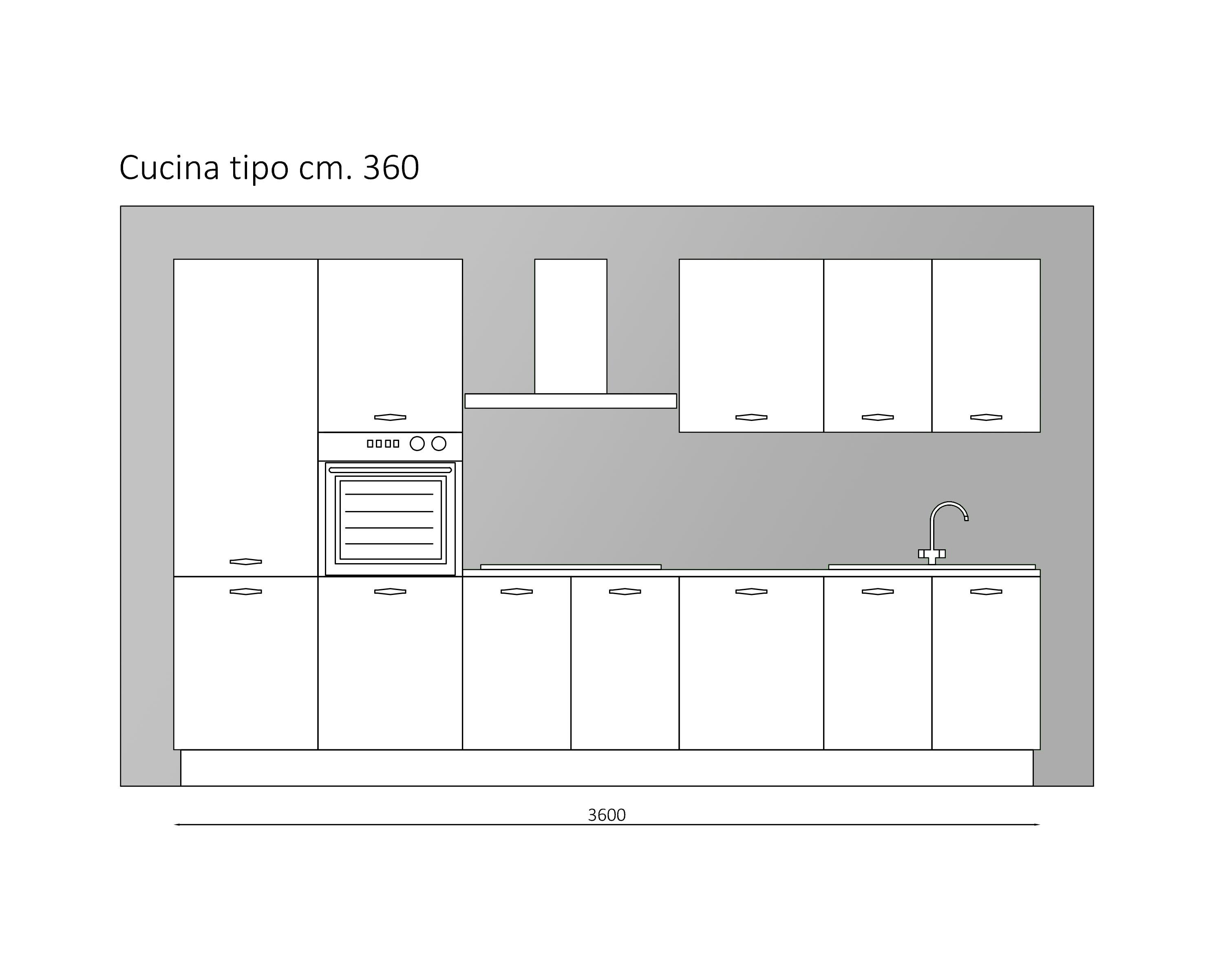 Cucina nuova modello Cortina 4 di Record Cucine 360cm scontata ...