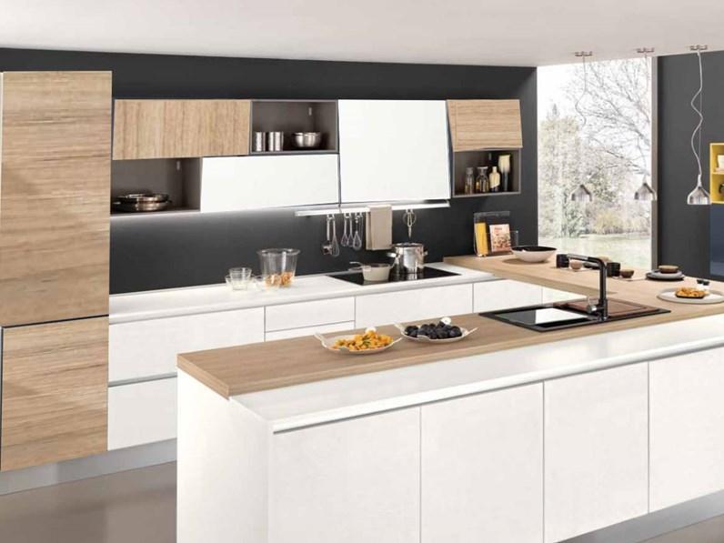 Cucina Nuovi Mondi Cucine Con Penisola Cucina Moderna Gola Con Penisola E Isola Colore Frassino Bianco