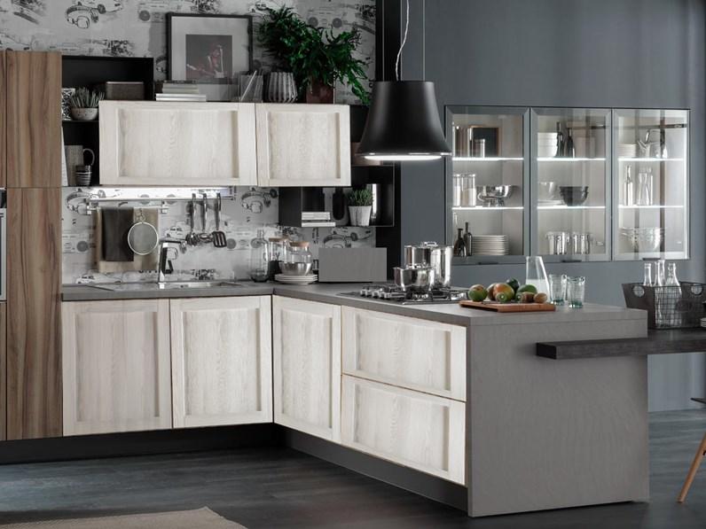 Cucina nuovi mondi cucine cucina con penisola living con tavolo integrato in offerta nuovimondi - Cucina con tavolo a scomparsa ...