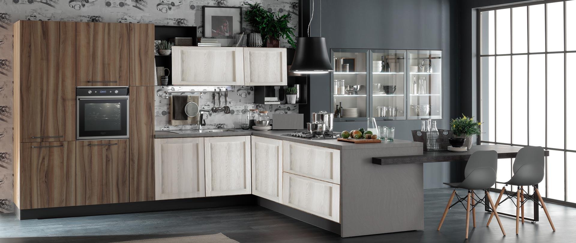 Cucina nuovi mondi cucine cucina con penisola living con tavolo integrato in offerta nuovimondi - Cucine living moderne ...