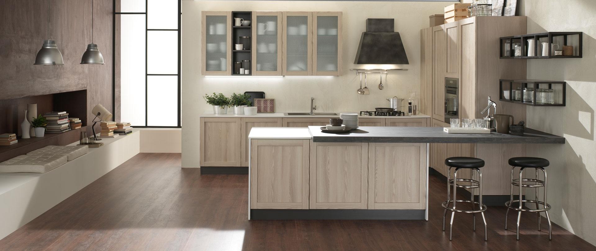 Cucina nuovi mondi cucine con isola shabby chic noir in - Cucina con isola misure ...