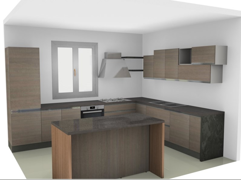 Cucina nuovi mondi cucine cucina moderna da angolo con con for Cucina isola offerta