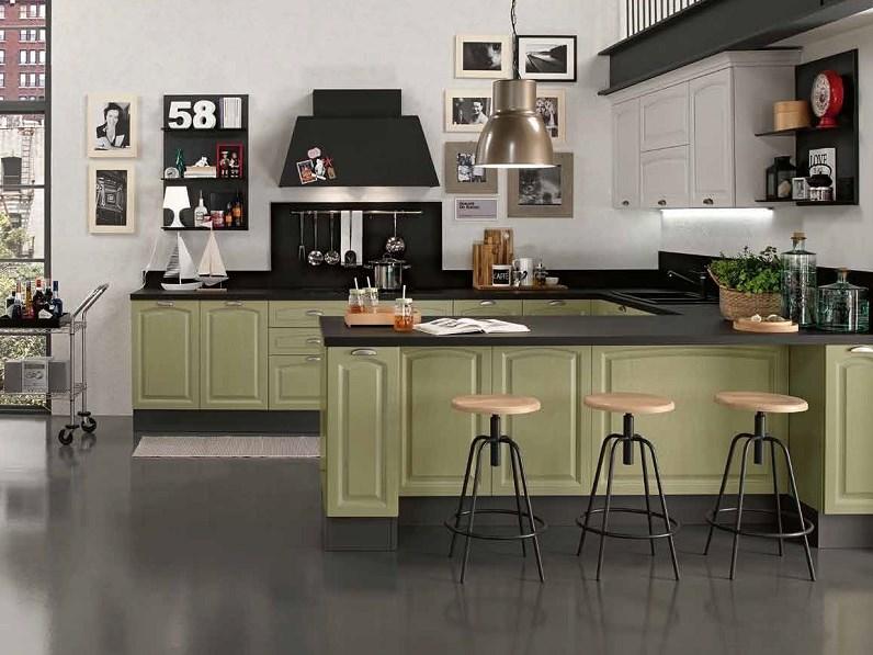 Cucina Nuovi Mondi Cucine Cucina moderna industrial in legno masello colore  white green in offerta nuovimondi.com Industriale Legno