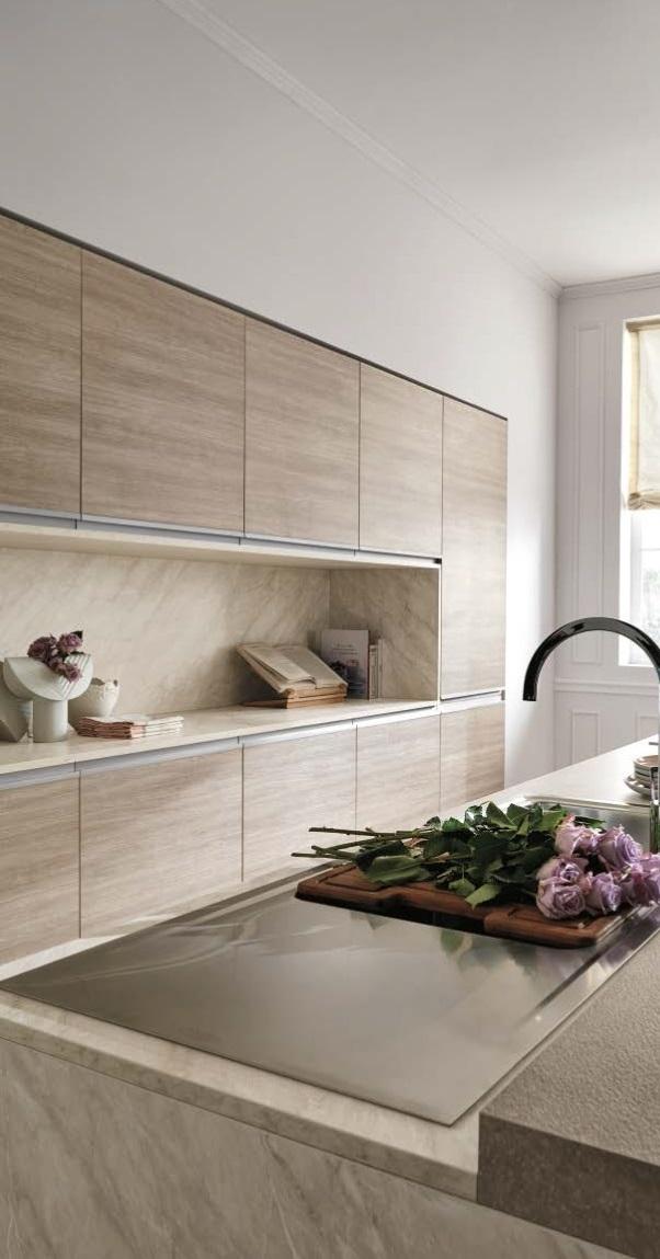 Cucina nuovi mondi cucine cucina moderna rovere terra for Piani di cucina con isola e camminare in dispensa