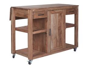 Cucina Nuovi mondi cucine industriale ad isola rovere chiaro in legno Isola tavolo postazione lavoro piano ampliabile e ruote in legno