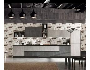 Cucina Nuovi mondi cucine industriale lineare grigio in laminato materico Minimal grigio moderna