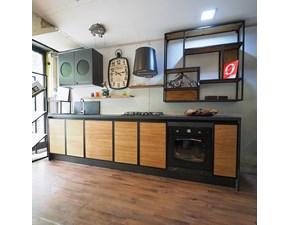 CUCINA Nuovi mondi cucine lineare Cucina industrial metallo e legno natural wood   SCONTATA