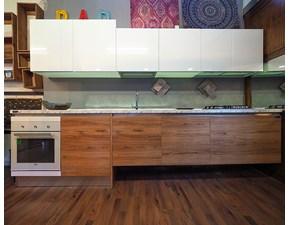 Cucina Nuovi mondi cucine moderna lineare rovere chiaro in laminato materico Cucina  moderna sospesa due colori