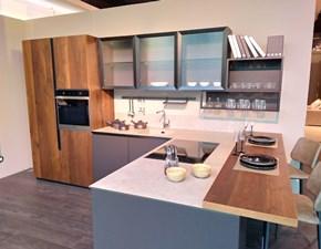 Cucina Oltre moderna grigio con penisola Lube cucine