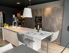 Cucina Primacucine moderna ad isola altri colori in laminato materico Domino whitey & blacky