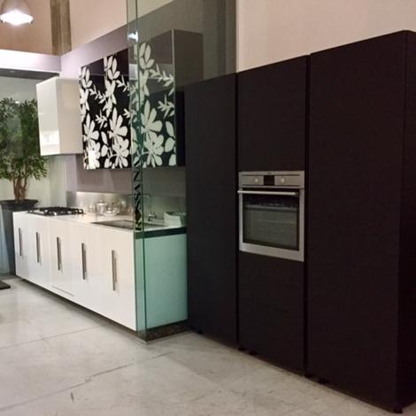 Cucina rb rossana etna bianco lucido laccato vetro decoro fly colonne mt 210 fenix design - Cucina laccato bianco ...