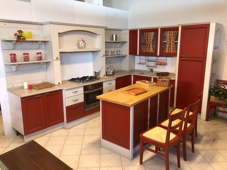 rossa country ad isola Cucina country artigianale in legno