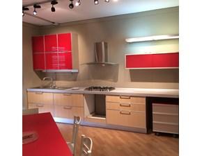 Cucina rossa e rovere chiaro moderna lineare LIPARI di Del Tongo Offerta Outlet