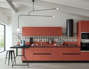 Cucina rossa moderna con penisola Rosso marquinia Ar-due scontata