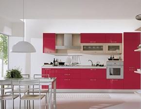 Cucina rossa moderna lineare Cucina mod.marilù in polimerico lucido rossa scontata del 34% S75
