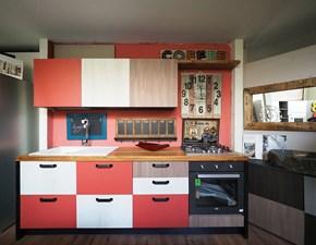 Cucina rossa moderna lineare Cucina multicolor moderna con il piano legno Nuovi mondi cucine in offerta