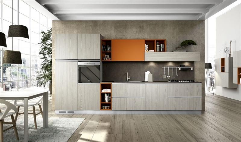 arredo3 cucina round moderno laminato materico tortora - cucine a ... - Laminato In Cucina