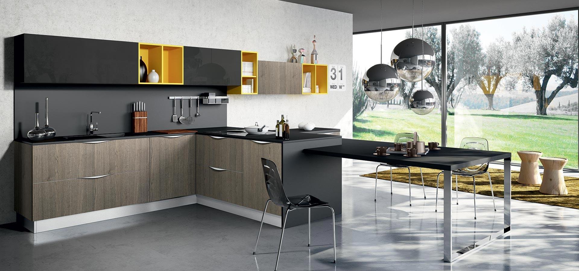 Arredo3 cucina round in laminato finitura rovere cucine - Arredo cucine moderne ...