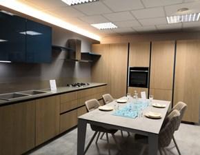 Cucina rovere chiaro design ad angolo Ak 05 con bordo 30° Arrital cucine