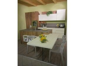 Cucina rovere chiaro design ad isola Comp.2 Artigianale in Offerta Outlet
