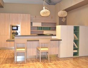 Cucina rovere chiaro design ad isola Round wood Arredo3 scontata
