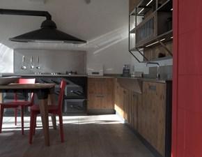 Cucina rovere chiaro industriale ad angolo Lab 40 Marchi cucine in Offerta Outlet