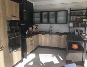 Cucina rovere chiaro industriale con penisola Kyra vintage Creo kitchens scontata